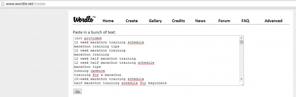 Wordle - Marathon Training data