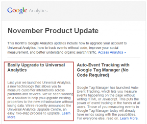 Google Analytics Product Update