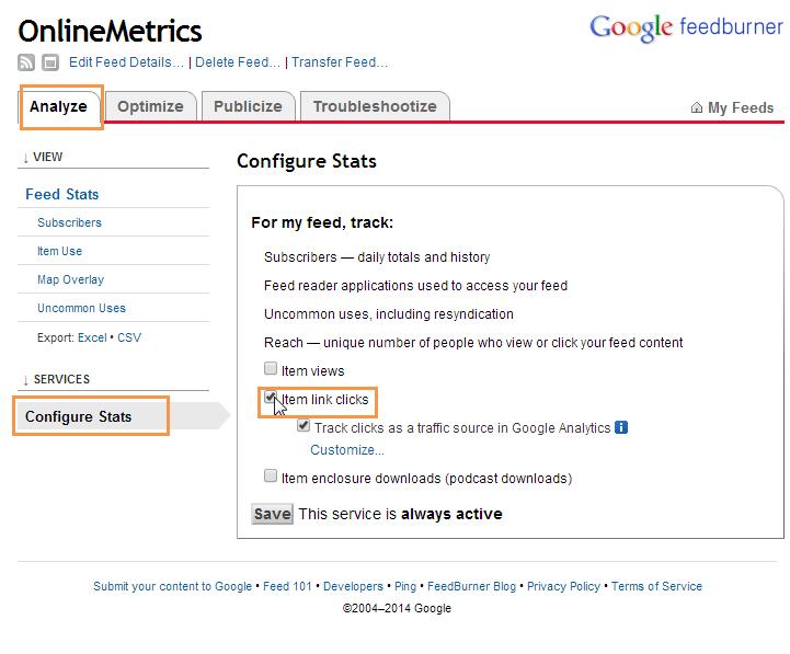 OnlineMetrics FeedBurner