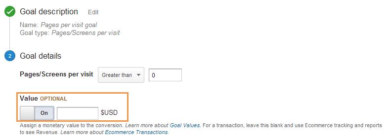 pages per visit goal value