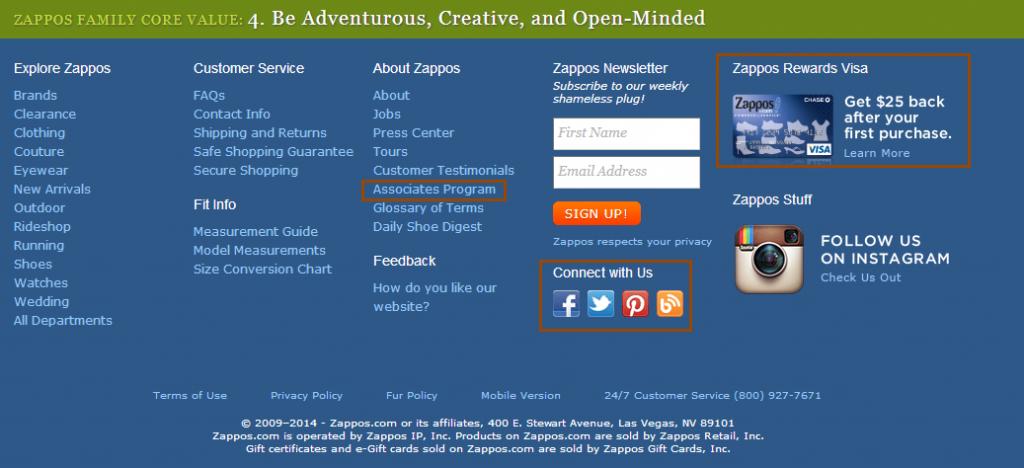 Zappos.com bottom homepage
