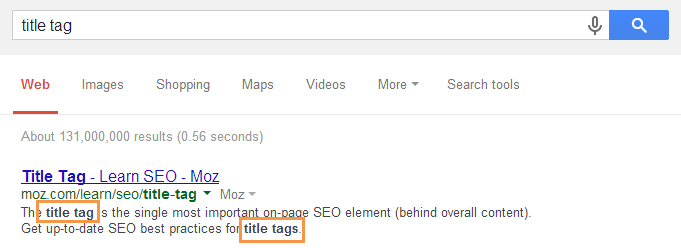 meta description title tag