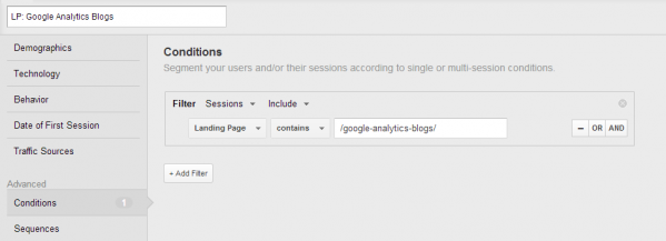 Landing page Google Analytics Blogs