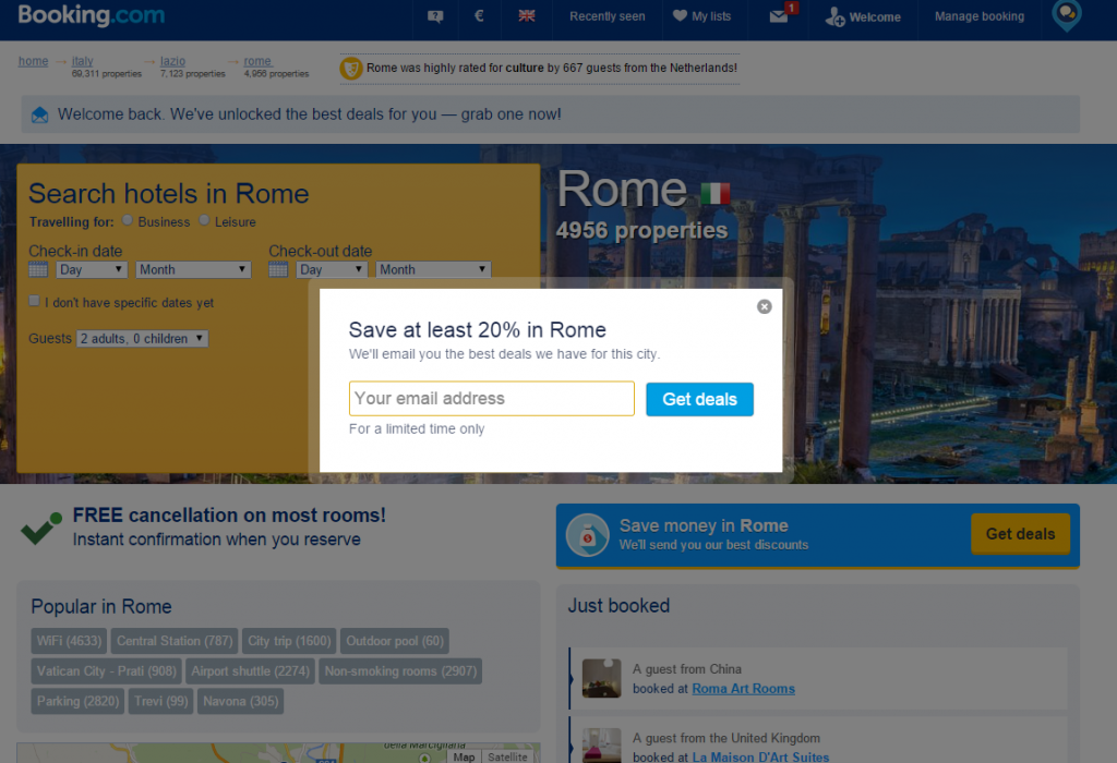 Booking.com Rome page