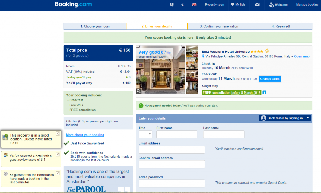 Booking.com - booking funnel step 2