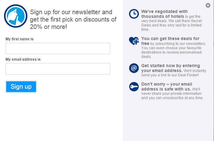 Booking.com newsletter pop-up