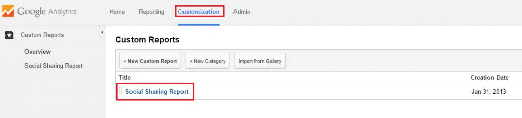 Google Analytics - Custom reports environment