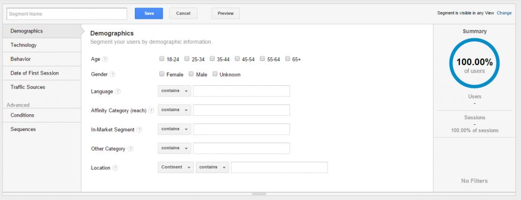 Google Analytics - Segment Building Module