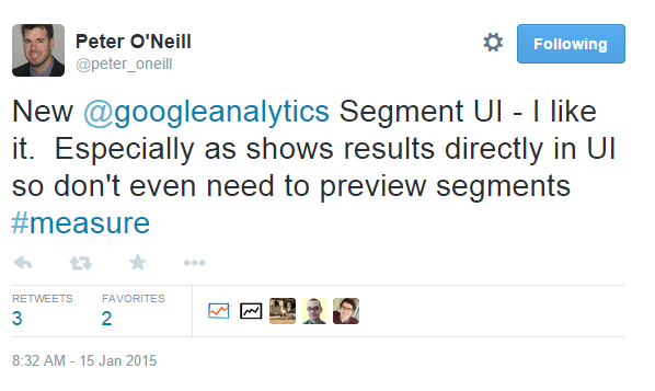 Segments in Google Analytics: Update User Interface