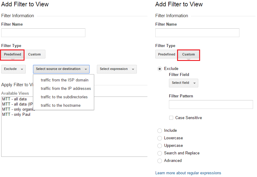 Google Analytics filters - predefined and custom
