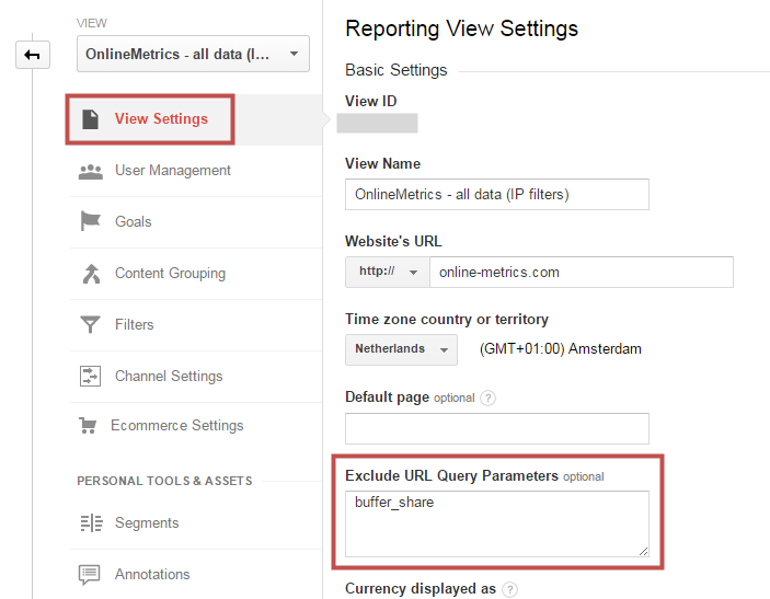 Reporting View Settings - query parameters