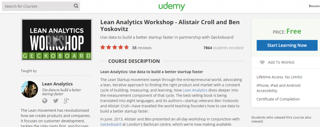 Udemy Course - Lean Analytics