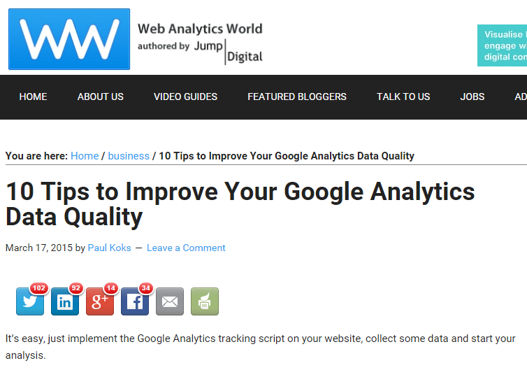 March - guest post on Web Analytics World