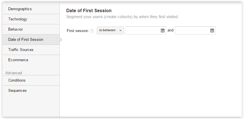 Date of first session segments