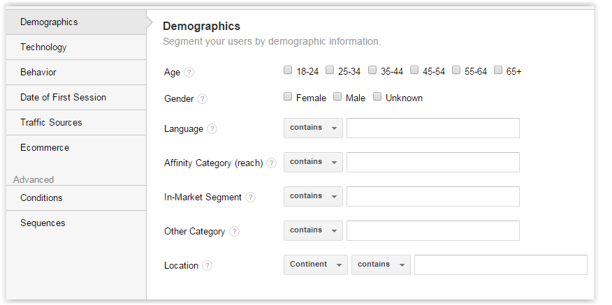 Demographic segments