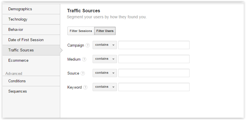 Traffic sources segments