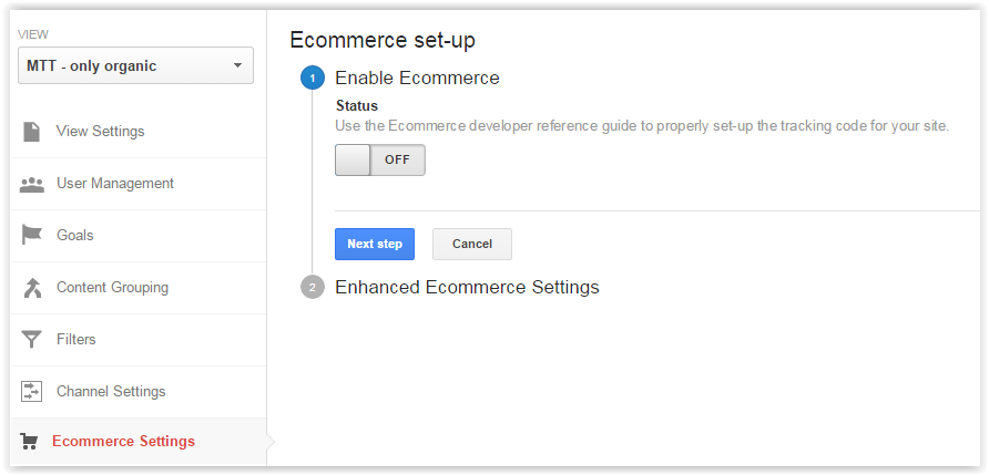 Ecommerce set-up GA