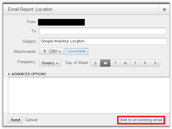 Email report GA - location