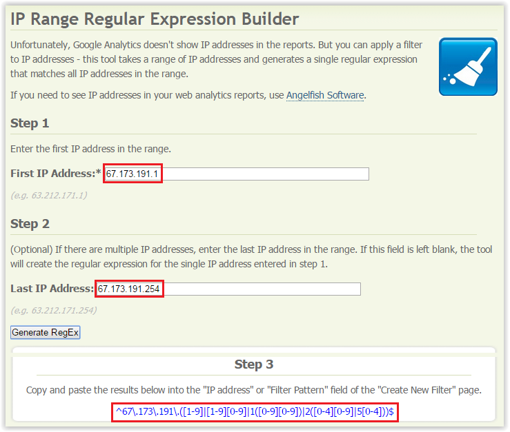 IP Range Regular Expression Builder