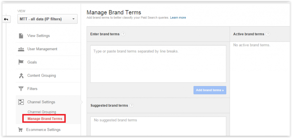 Manage brand terms