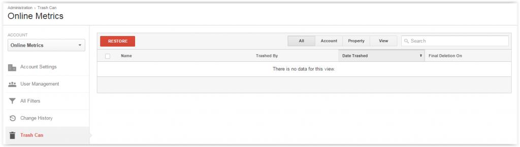 Trash can Google Analytics