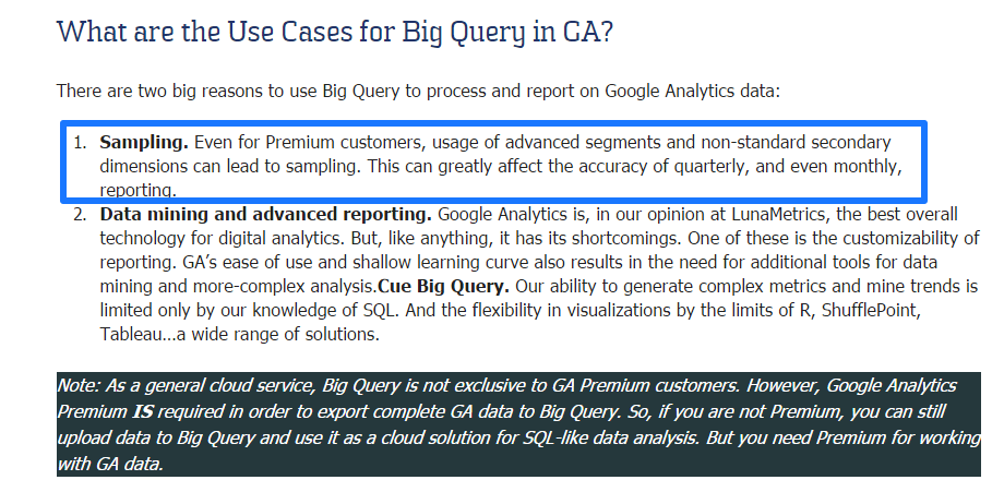 Use Cases for Big Query in GA