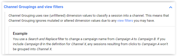 Channel Groupings and view filters