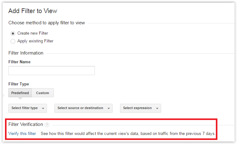 Filter verification in Google Analytics
