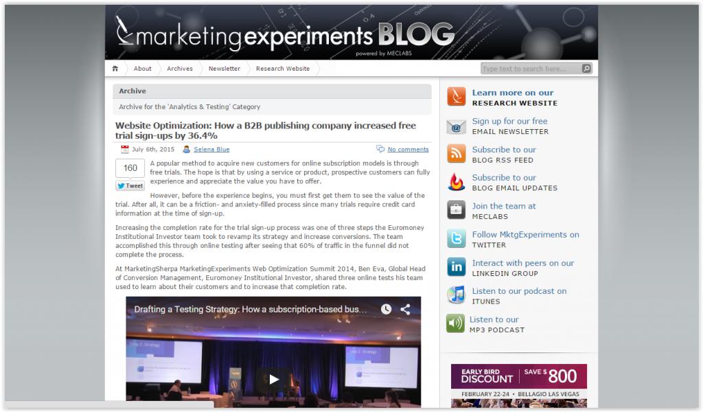 Marketing Experiments blog