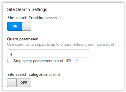 Site search settings - view level
