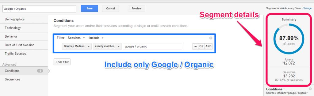 Build segment Google - Organic