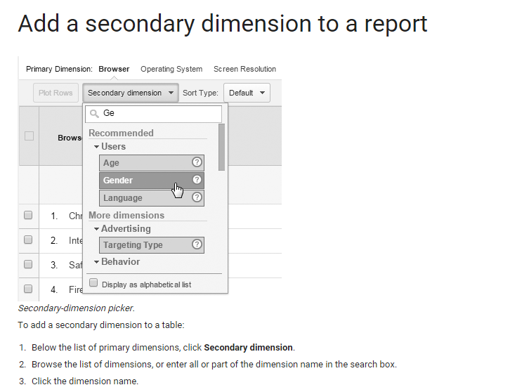 How to add secondary dimensions