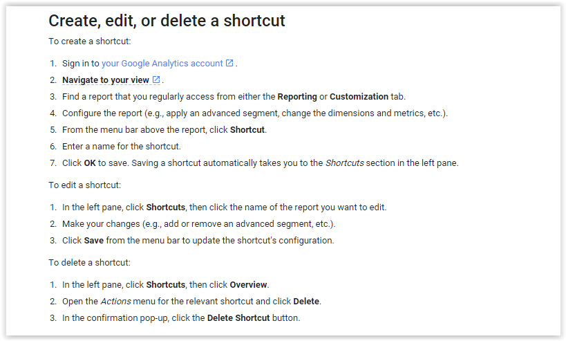 Shortcuts in Google Analytics