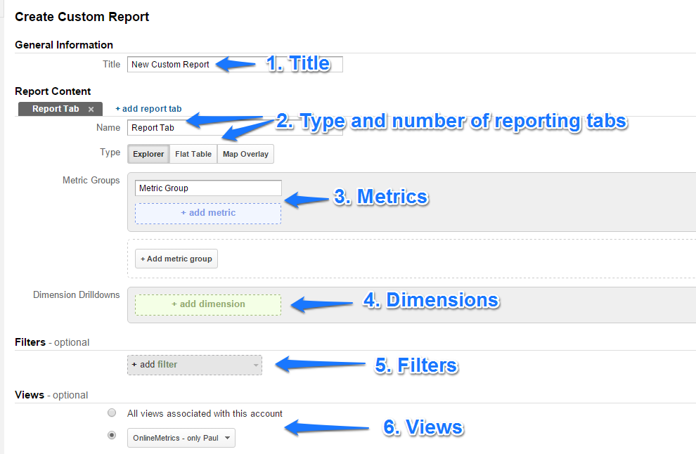 Create Custom Report steps