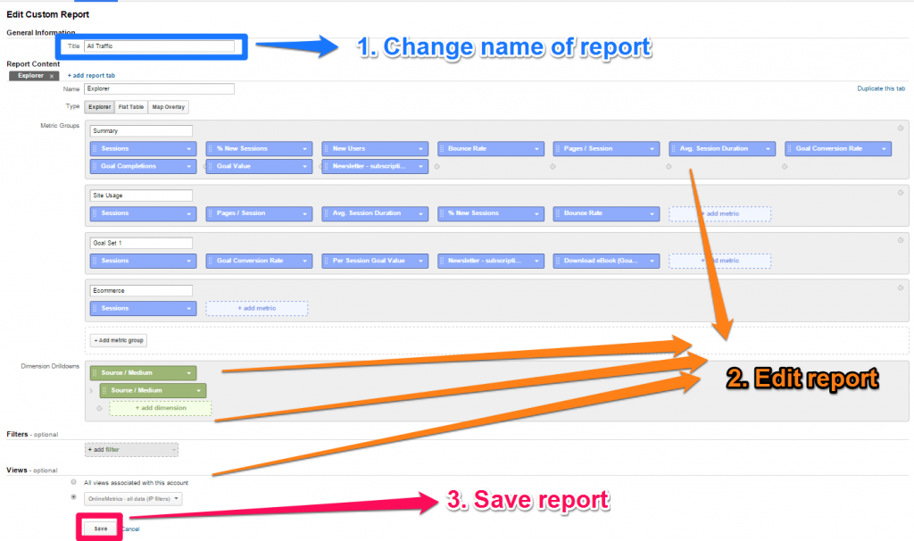 Customize and save standard report as custom report