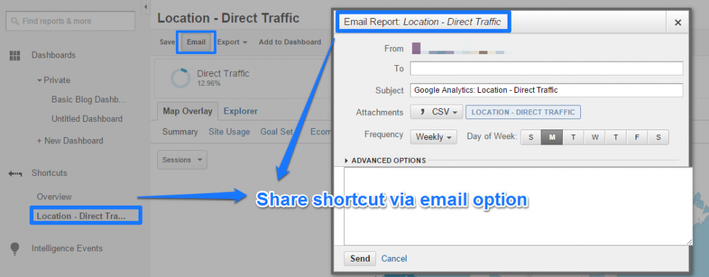 Share shortcut via email option Google Analytics