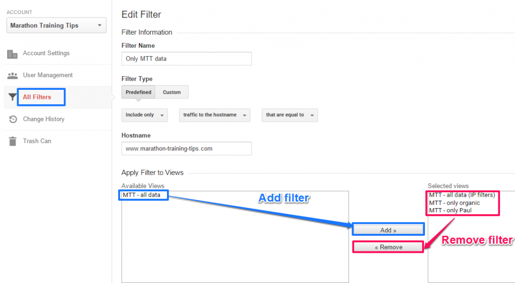 filter sharing Google Analytics