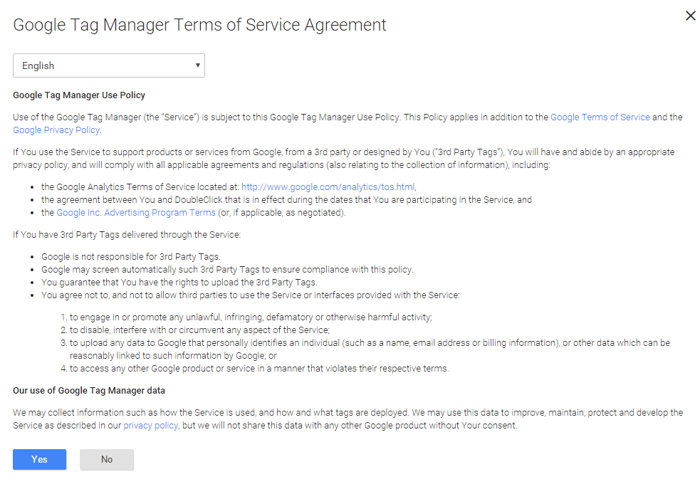 How to implement google analytics via google tag manager step 3 google tag manager terms of service agreement platinumwayz