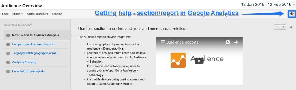 Getting help in Google Analytics
