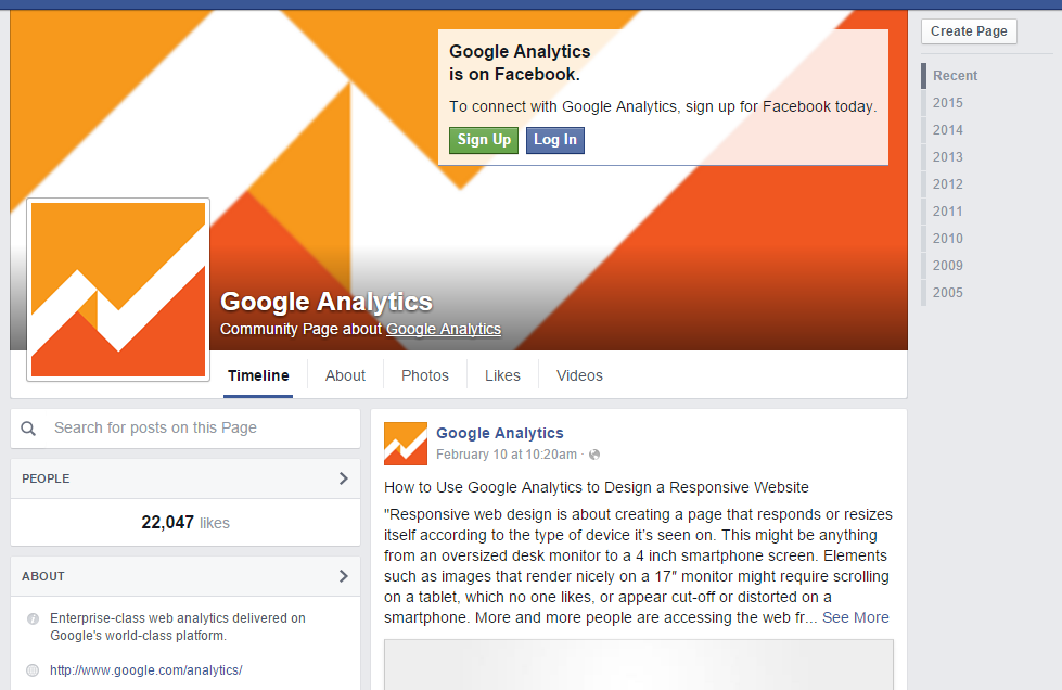 Google Analytics Community Page Facebook