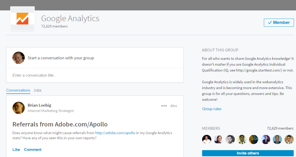 Google Analytics Group LinkedIn
