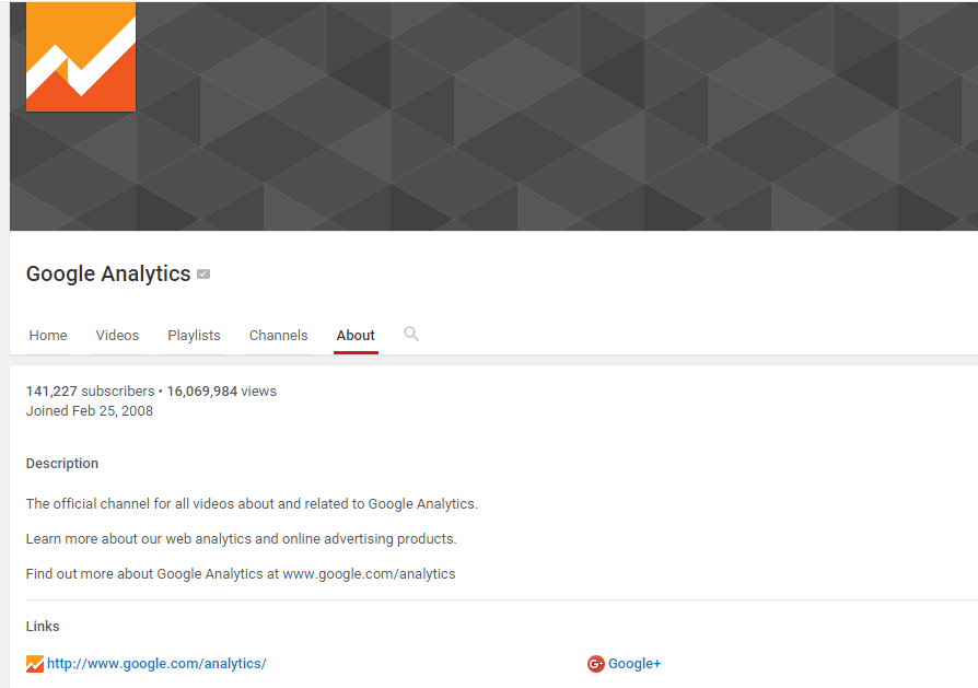 Google Analytics YouTube