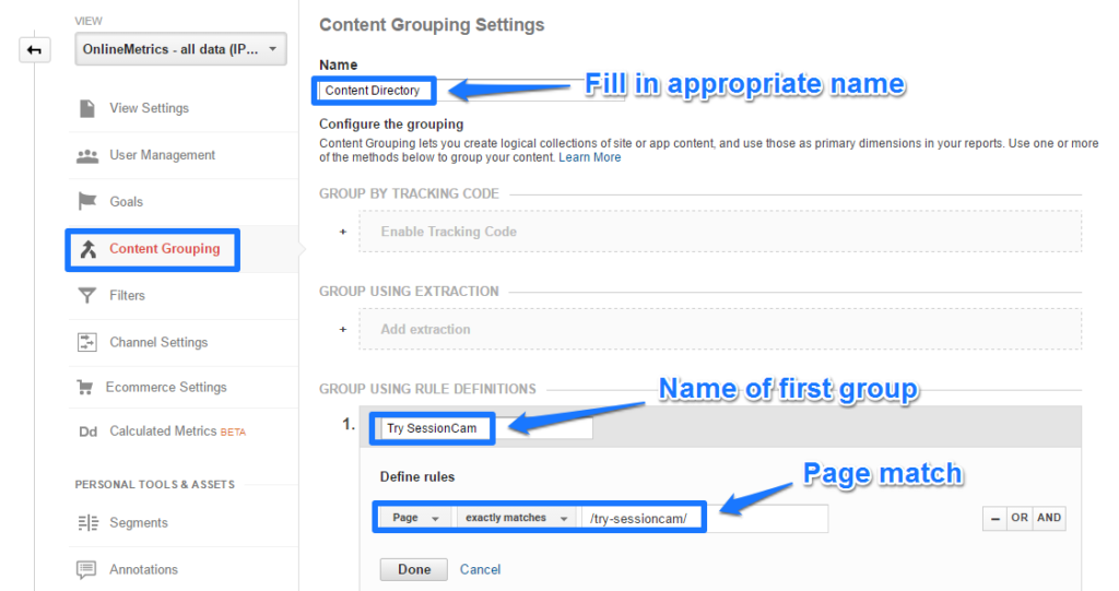 Content grouping SessionCam example