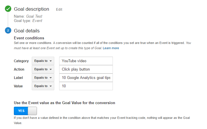 Event goal Google Analytics