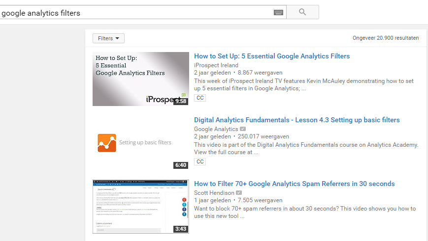 Google Analytics Filters YouTube