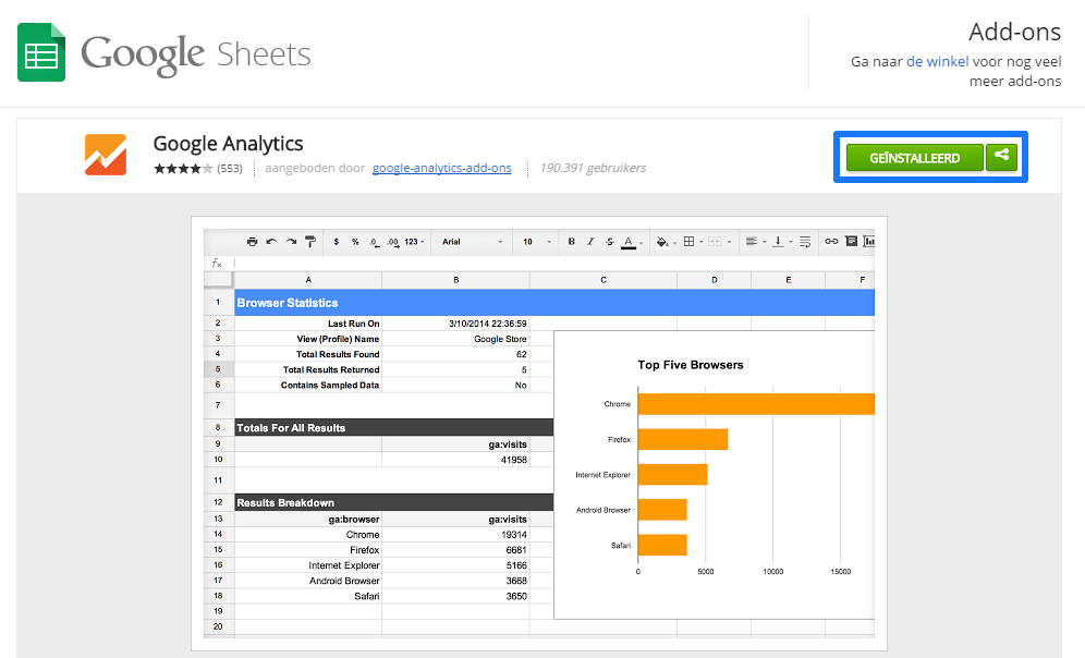 Google Analytics Sheets Add-On