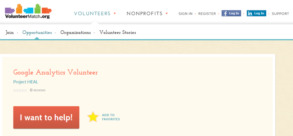Google Analytics Volunteer