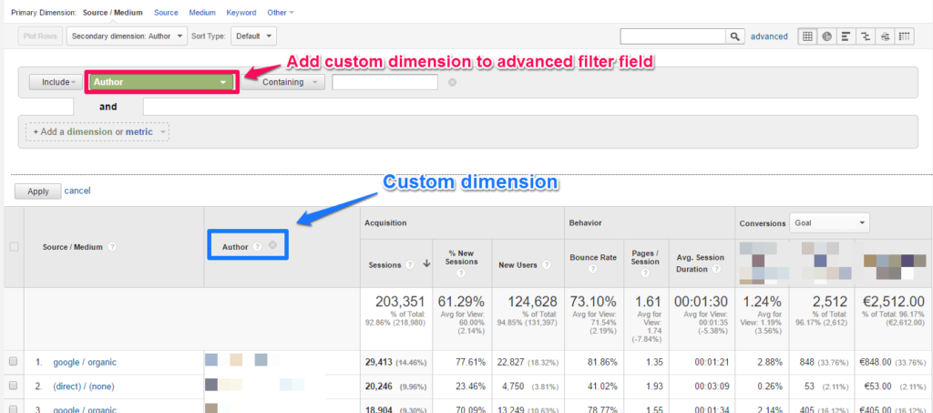 custom dimension advanced filter field