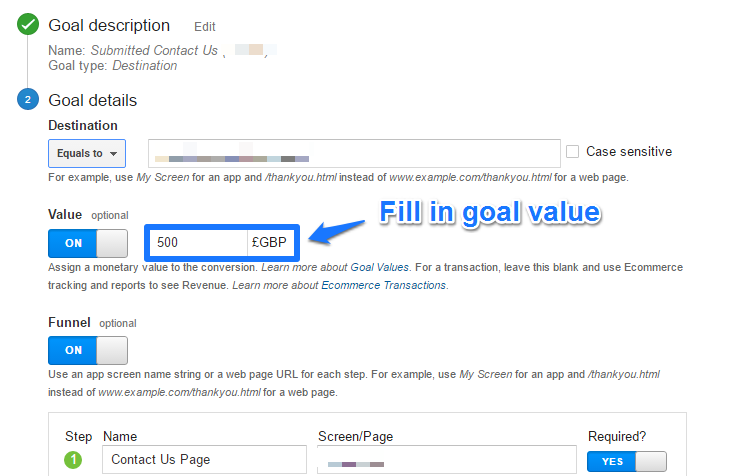 Setting up goal value
