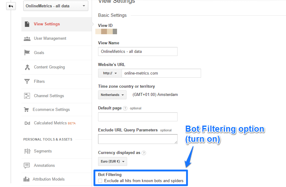 Bot Filtering option (turn on)
